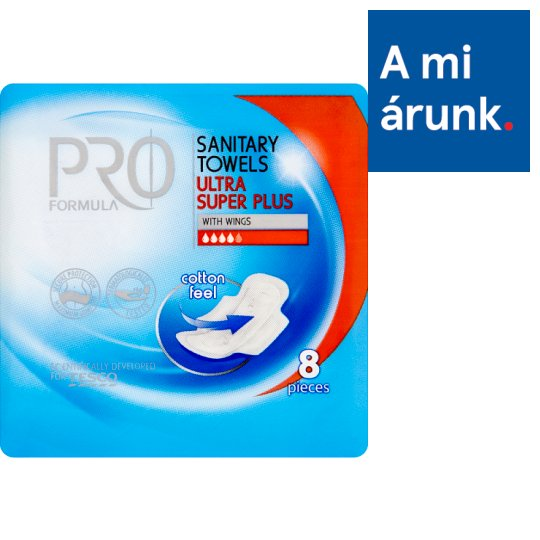 Tesco Pro Formula Ultra Super Plus Sanitary Towel with Wings 8 pcs