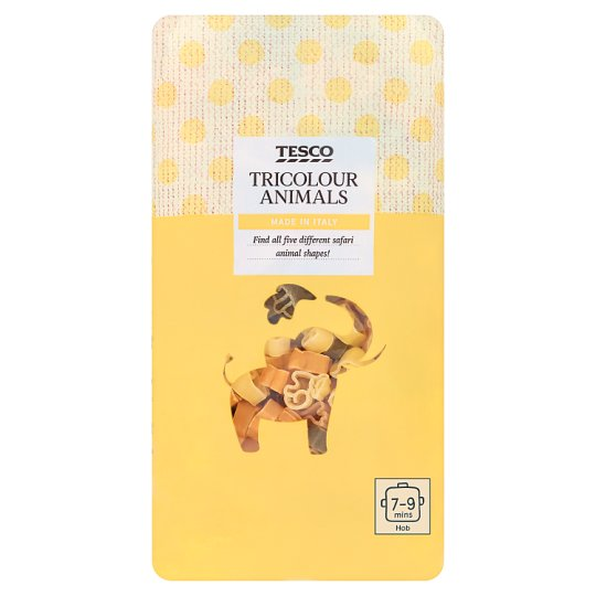Tesco Tricolor Animals Durum Dry Pasta with Tomato Powder and Spinach Powder 500 g
