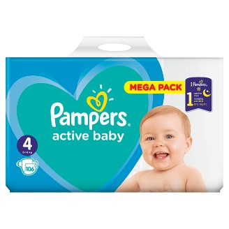 Pampers Active Baby, 4-as Méret, 106 db Pelenka, 9–14 kg