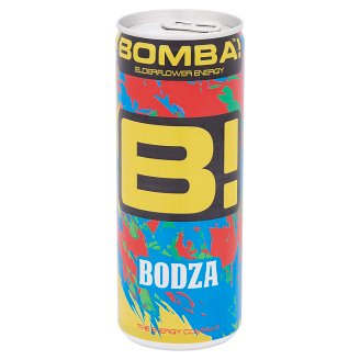 BOMBA! Elder-Lemon Flavoured Caffeine Content Carbonated Drink with Sugar and Sweeteners 250 ml