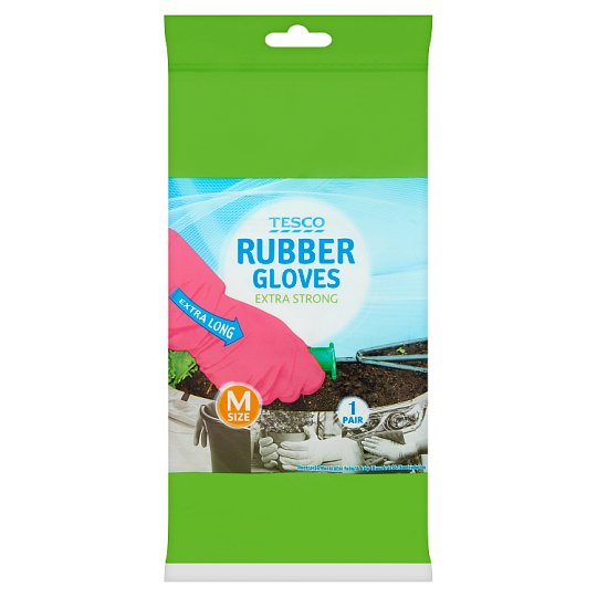 Tesco Extra Strong, Extra Long Rubber Gloves M Size 1 Pair