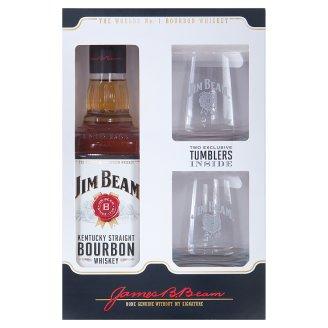 Jim Beam White Bourbon Whiskey 40% 0,7 l + 2 Glasses
