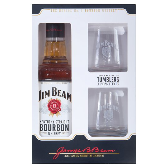 Jim Beam White bourbon whiskey 40% 0,7 l + 2 pohár