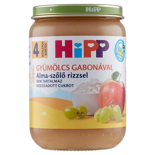 HiPP BIO glutén- és tejszármazékmentes alma-szőlő rizzsel bébidesszert 4 hónapos kortól 190 g