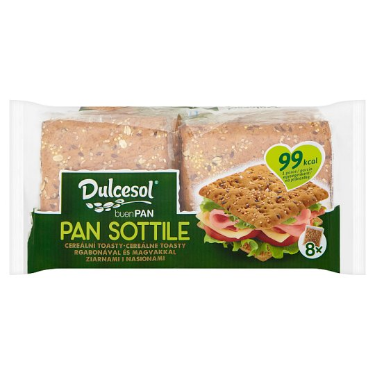 Dulcesol Pan Sottile Packed Sliced Baked Bread with Grain and Seeds 8 pcs 310 g