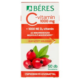 Béres Vitamin C 1000 mg Tablets with Rosehip Extract + Vitamin D3 50 pcs 92,5 g