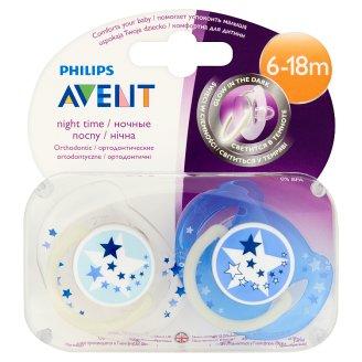 Philips Avent éjszakai fluoreszkáló fogszabályzós játszócumik kupakkal 6-18 hónapos korig 2 db