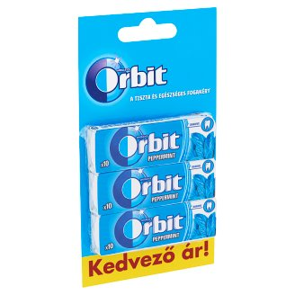 Orbit Peppermint Sugar-Free Mint Flavoured Chewing Gum with Sweetener 3 x 14 g