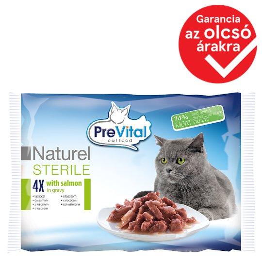 PreVital Naturel Alutasakos teljes értékű eledel ivartalanított macskának lazaccal szószban 4 x 85 g