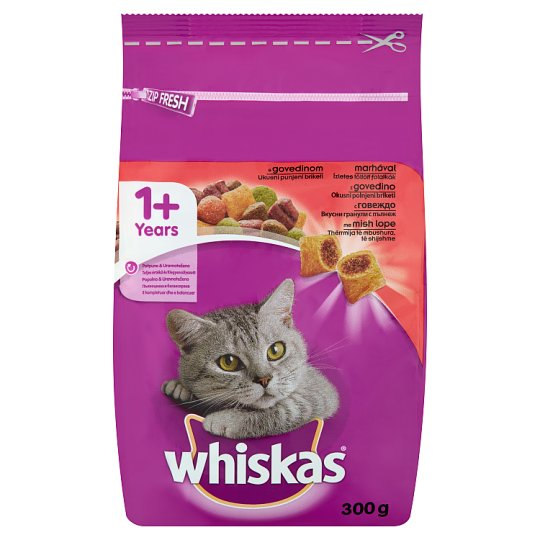 Whiskas 1+ Complete Pet Food for Adult Cats with Beef 300 g
