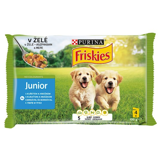 Friskies Vitafit Junior Complete Food for Puppies with Chicken-Peas in Aspic 4 x 100 g