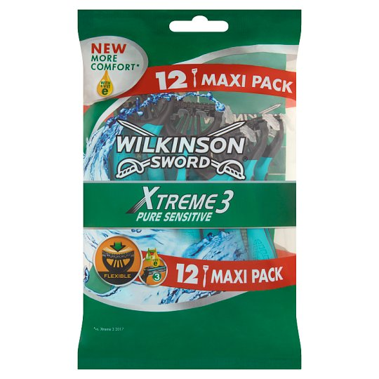 Wilkinson Sword Xtreme3 Pure Sensitive Disposable Razor with 3 Blades and a Lubricant Strip 12 pcs