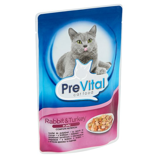 PreVital teljes értékű állateledel felnőtt macskák számára nyúllal és pulykával zselében 100 g