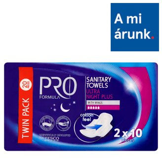 Tesco Pro Formula Ultra Night Plus Sanitary Towel with Wings 2 x 10 pcs