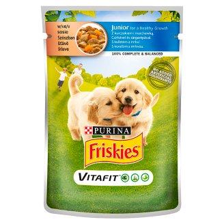 Friskies Vitafit Complete Pet Food for Junior Dogs with Chicken and Carrot in Sauce 100 g