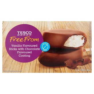 Tesco Free From Lactose-Free Chocolate Coated Vanilla Ice Cream 3 x 100 ml