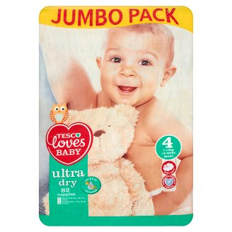 Tesco Loves Baby Ultra Dry 4 Maxi Nappies 7-18 kg 82 pcs