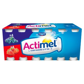 Danone Actimel Low-Fat Blackberry & Strawberry Flavoured Yoghurt Drink with Live Culture 12 x 100 g