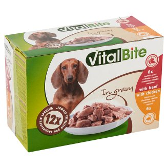 VitalBite Complete Pet Food for Adult Dogs with Beef and Chicken in Gravy 12 x 85 g