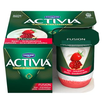 Danone Activia Fusion Yoghurt with Strawberry-Pomegranate Sauce and Live Cultures 4 x 125 g