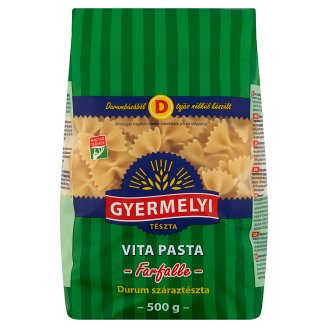 Gyermelyi Vita Pasta Bow Dried Pasta Made from Durum Wheat Semolina 500 g