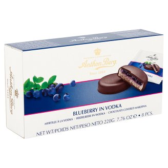 Anthon Berg Dark Chocolate with Marzipan and Filling with Blueberry in Vodka 8 pcs 220 g