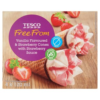Tesco Free From Lactose- and Gluten Free Vanilla and Strawberry Flavoured Ice Cream 4 x 120 ml