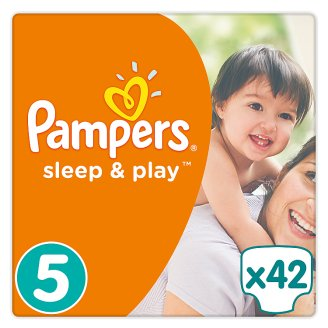 Pampers Sleep & Play Size 5, 42 Nappies, 11-18kg, Simply Dry