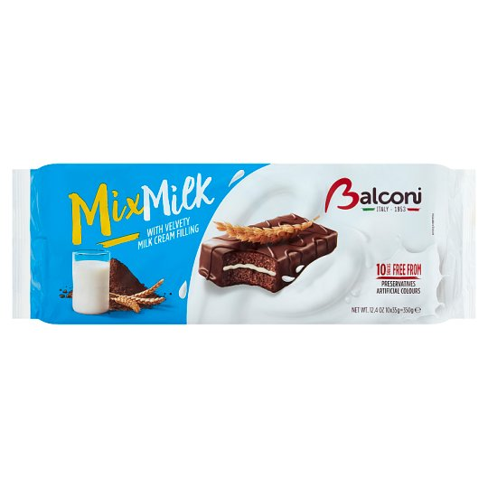 Balconi Mix Milk kemencében sült sütemény kakaótartalmú bevonattal, tejkrémmel töltve 10 db 350 g
