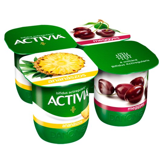 Danone Activia Low-Fat Pineapple and Sour Cherry Flavoured Yoghurt with Live Culture 4 x 125 g