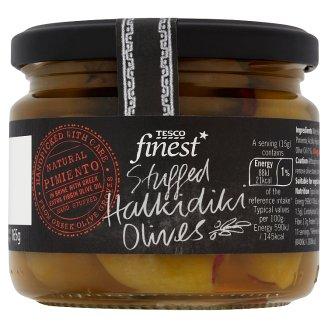Tesco Finest pimiento paprikával töltött zöld olívabogyók extra szűz olívaolajjal 285 g