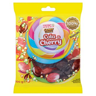 Tesco Candy Carnival Cola & Cherry Flavoured Hard Candies with Sparkling Filling 100 g