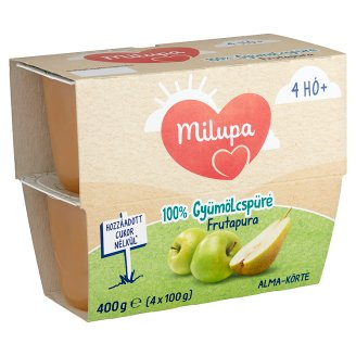 Milupa Frutapura alma-körte gyümölcspüré 4 hónapos kortól 4 x 100 g