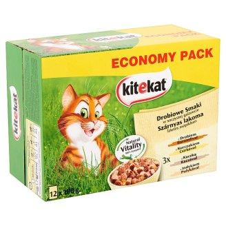 Kitekat Szárnyas Lakoma teljes értékű eledel felnőtt macskák számára ízlestes aszpikban 12 x 100 g