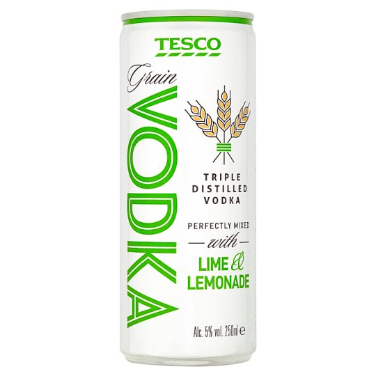 Tesco Triple Distilled Grain Vodka Perfectly Mixed with Lime & Lemonade 5% 250 ml