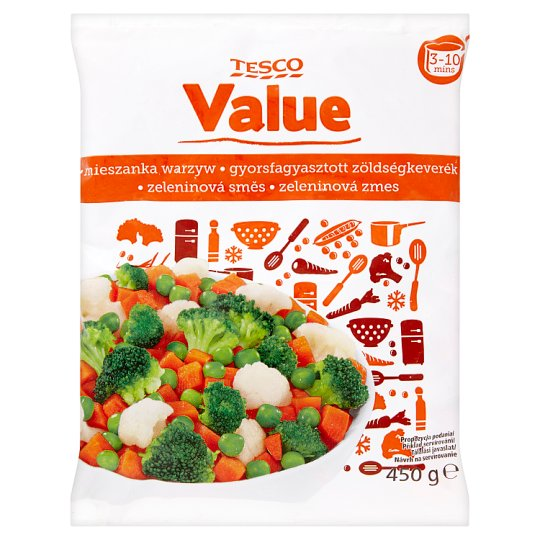 Tesco Value Quick-Frozen Vegetable Mix 450 g