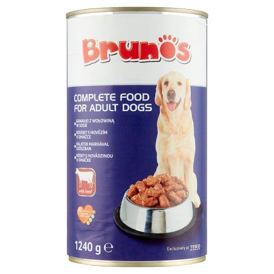 Brunos teljes értékű állateledel felnőtt kutyák számára, falatok marhával szószban 1240 g