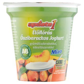 Mizo Update 1 Peach Flavoured Yoghurt with Fruit Pieces, Sweeteners and Live Cultures 125 g