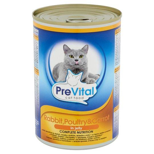PreVital Konzerv teljes értékű eledel felnőtt macskák számára nyúllal, baromfival és répával 415 g