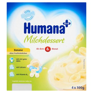 Humana Banana Flavoured Milk Dessert 6+ Months 4 x 100 g