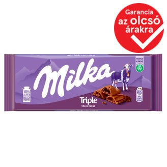 Milka Triple Choco Cocoa Alpine Milk Chocolate with Cocoa Cream, Filling, and Biscuit Pieces 90 g