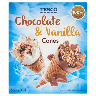 Tesco Chocolate and Vanilla Flavoured Ice Cream wit Chocolate Sauce in Cones 6 x 120 ml