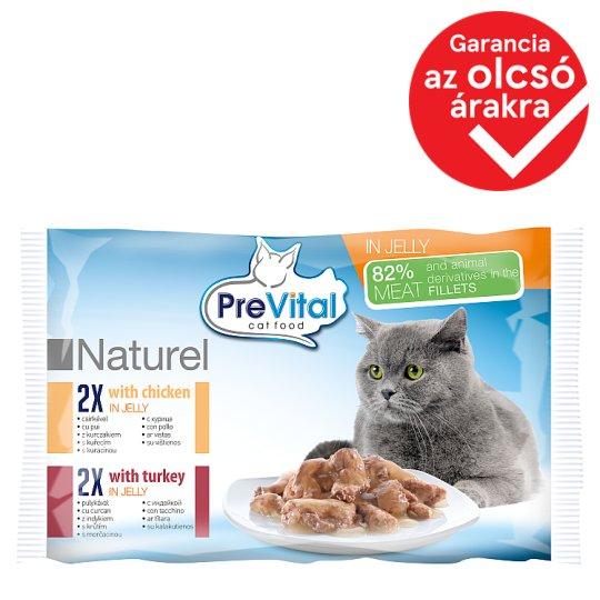PreVital Naturel Alutasakos teljes értékű eledel felnőtt macskáknakcsirkével és pulykával 4 x 85 g