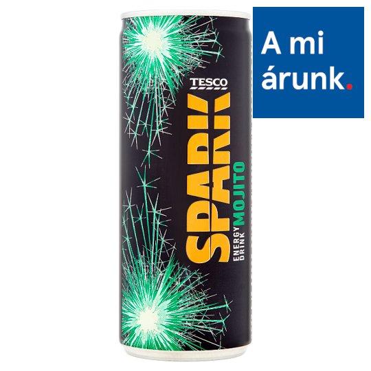 Tesco Spark Mojito szénsavas mentaízű energiaital cukorral és édesítőszerrel 250 ml