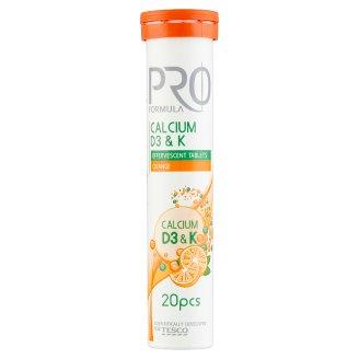 Tesco Pro Formula Calcium D3 & K narancsízű étrend-kiegészítő pezsgőtabletta 20 db 80 g