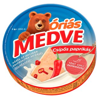 Medve Spreadable Processed Semi-Fat Cheese with Hot Paprika 6 pcs 200 g