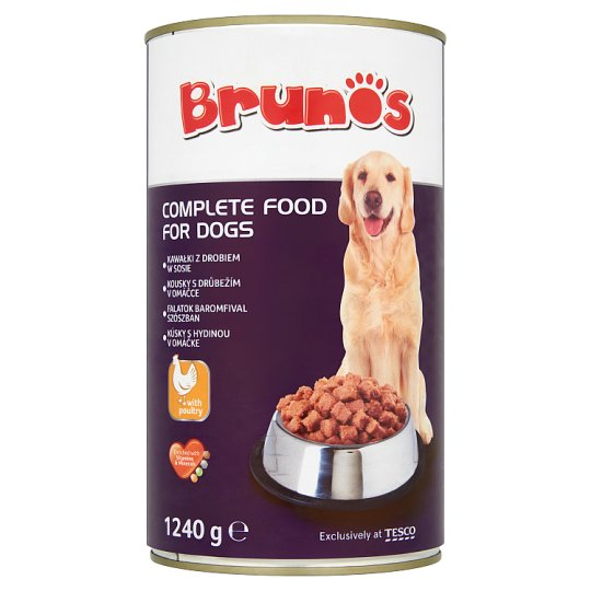 Brunos Complete Pet Food for Adult Dogs Meat Chunks with Poultry in Gravy 1240 g