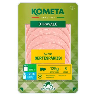 Kométa Mindennap finom! Harmónia Sliced Pork Bologna Sausage with Cheese 125 g