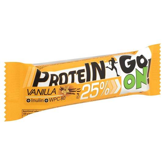 Protein Go On! fehérje-tartalmú vanília ízű szelet inulinnal és tejcsokoládéval 50 g