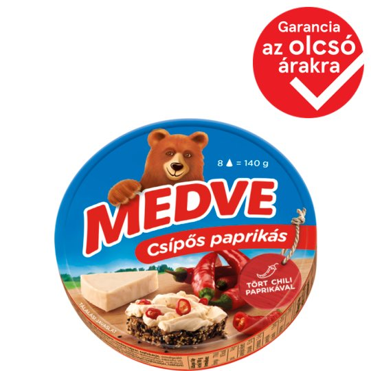 Medve Semi-Fat Processed Cheese Spread with Hot Paprika 8 pcs 140 g
